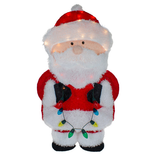 32-Inch Lighted Chenille Santa with Lights Outdoor Christmas Decoration - IMAGE 1