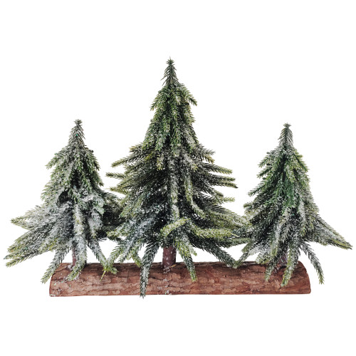 Set of 3 Frosted Pine Downswept Artificial Christmas Trees Decoration - IMAGE 1