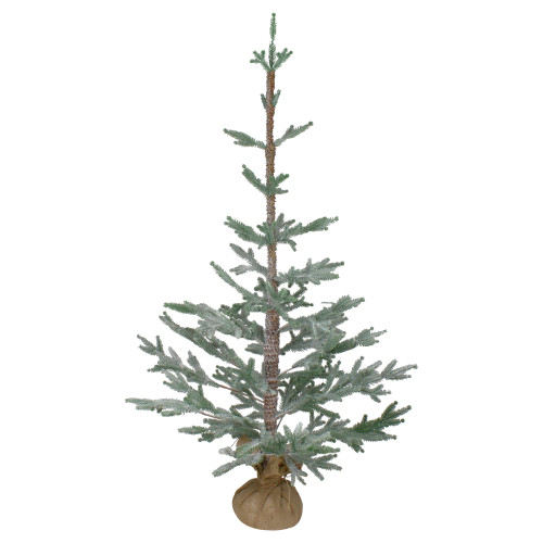 3' Snow Covered Slim Pine Artificial Christmas Tree with Jute Base - Unlit - IMAGE 1