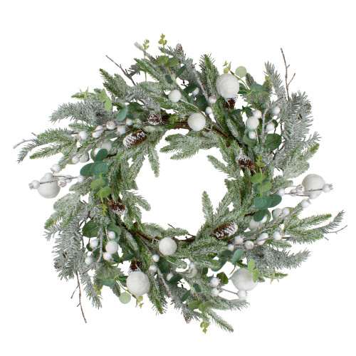 """24"""" Artificial Flocked and Iced Mixed Pine Christmas Wreath - IMAGE 1"""