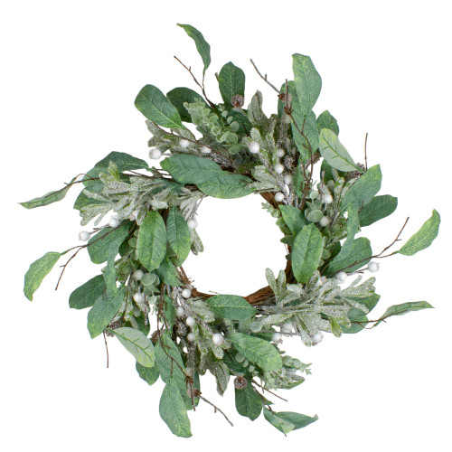 """25"""" Artificial Mixed Foliage and Berries Christmas Wreath Unlit - IMAGE 1"""