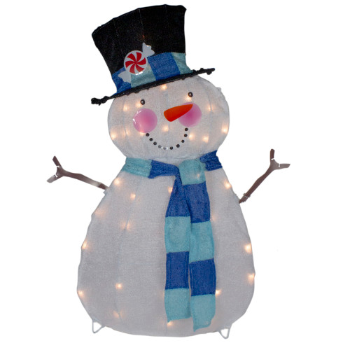 "32"" Lighted White and Blue Chenille Snowman Outdoor Christmas Decoration - IMAGE 1"