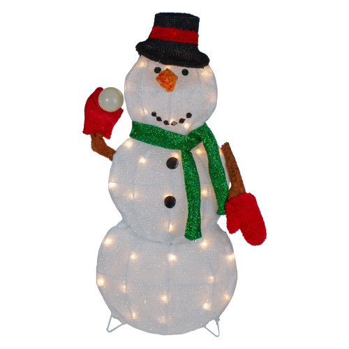 "24"" Black and White Snowman Christmas Outdoor Decoration - IMAGE 1"