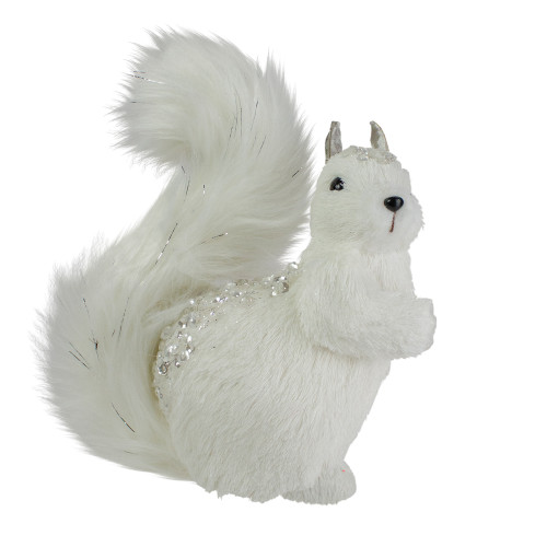 """9"""" White Squirrel with Silver Gems Christmas Tabletop Decoration - IMAGE 1"""