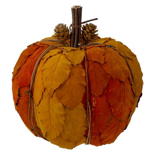 "7.5"" Orange and Brown Fall Harvest Tabletop Pumpkin - IMAGE 1"