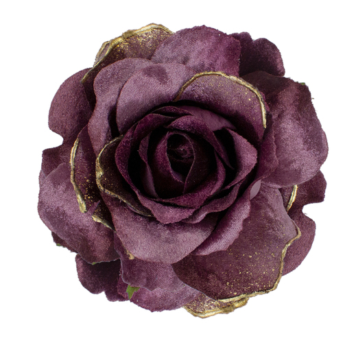 """5"""" Pink Artificial Rose Clip-On Christmas Ornament - IMAGE 1"""