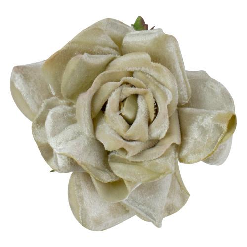 "5"" Gold Artificial Velvet Rose Clip-On Christmas Ornament - IMAGE 1"