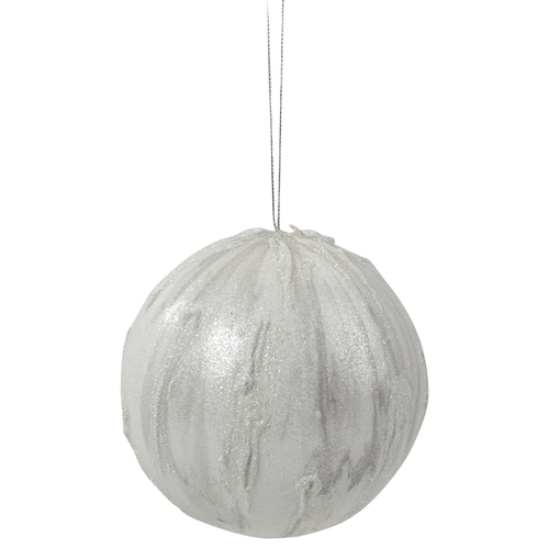 "4.25"" Glittered White Marbled Christmas Ball Ornament - IMAGE 1"