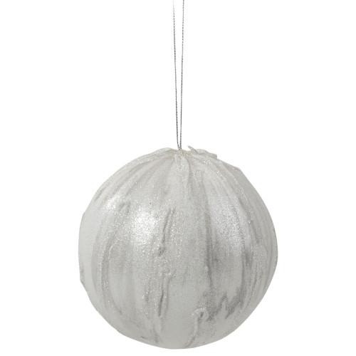 "4.25"" Glittered White Marbled Christmas Ball Ornament - IMAGE 1"