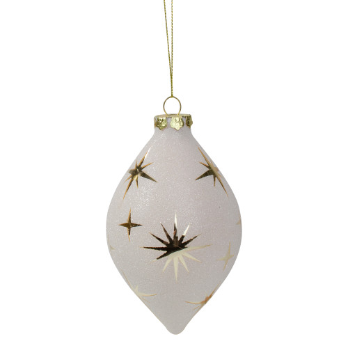 "5"" White and Gold Star Patterned Christmas Ornament - IMAGE 1"