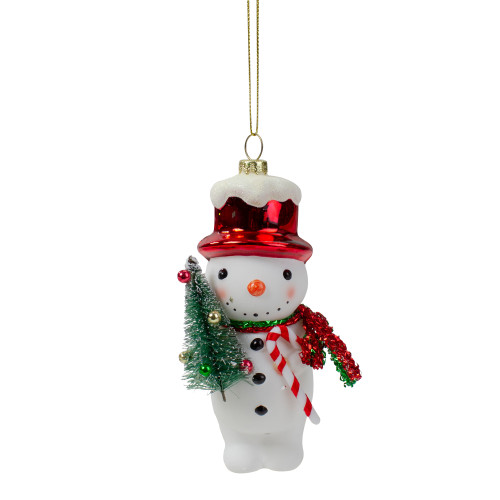 """5.5"""" White and Red Glass Snowman Christmas Ornament - IMAGE 1"""