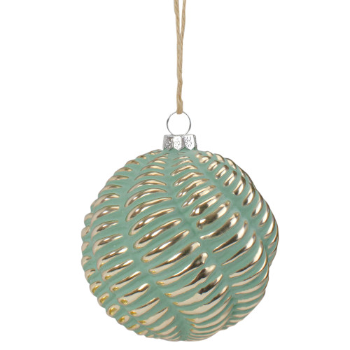"4"" Green and Gold Glass Ball Christmas Ornament - IMAGE 1"
