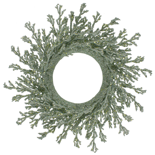 """20"""" Green Glittered Artificial Coral Christmas  Wreath - IMAGE 1"""