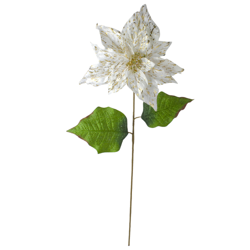 """24""""  White and Gold Artificial Christmas Poinsettia Flower - IMAGE 1"""