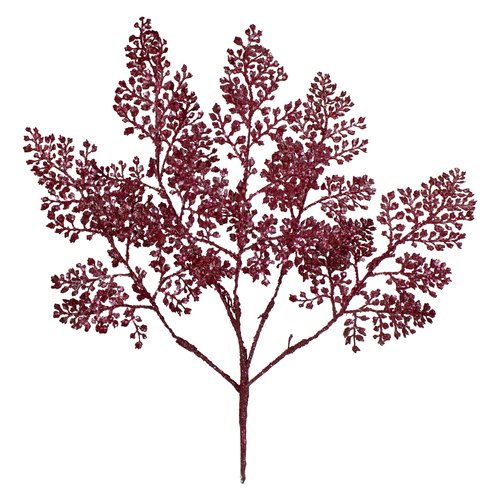 """18"""" Deep Pink Glittered Leaves Artificial Christmas Spray - IMAGE 1"""
