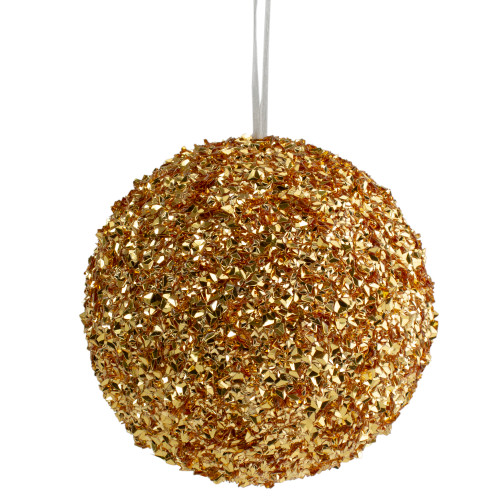 "6"" Gold Glitter Christmas Ball Ornament - IMAGE 1"
