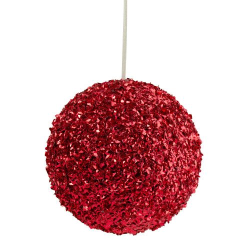 "6"" Red Glitter Christmas Ball Ornament - IMAGE 1"