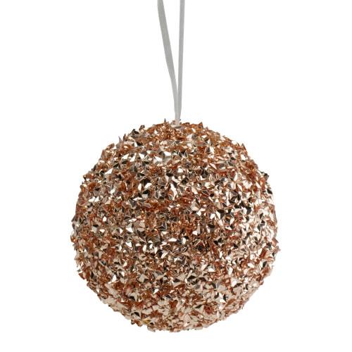"4.75"" Rose Gold Glittered Christmas Ball Ornament - IMAGE 1"