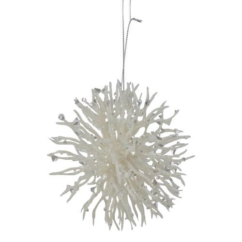 "4.5"" White Glittered Starburst Christmas Ornament - IMAGE 1"