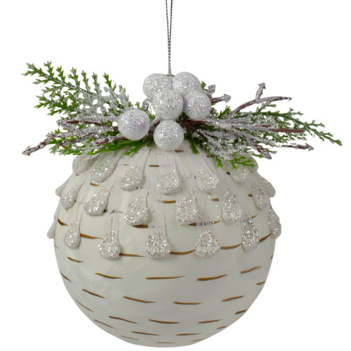 "4"" Cedar and Berries White Glass Christmas Ornament - IMAGE 1"