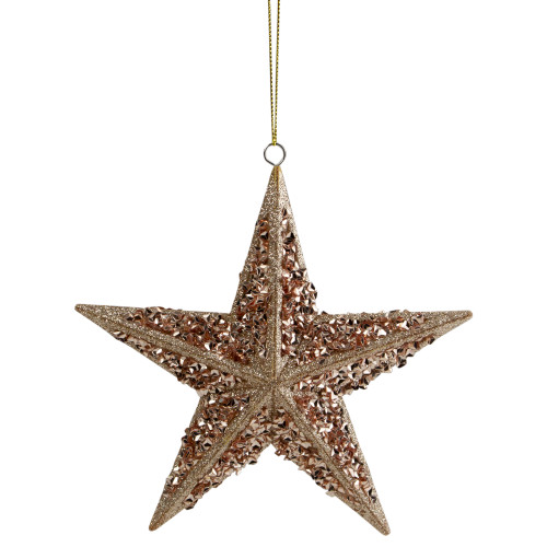 "5.5"" Rose Gold Star Shaped Christmas Ornament - IMAGE 1"