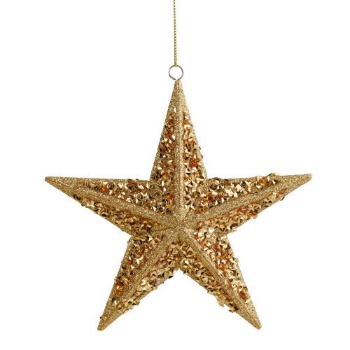 "5.5"" Gold Star Shaped Glittered Christmas Ornament - IMAGE 1"
