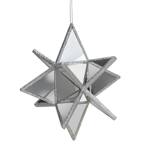 "6"" Silver Three Dimensional Star Christmas Ornament - IMAGE 1"