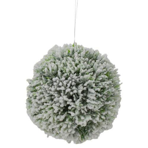 """6"""" White and Green Frosted Pine Christmas Ornament - IMAGE 1"""