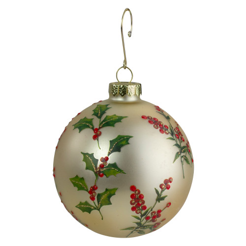 """4"""" Glass Gold, Red, and Green Holly Berry Christmas Ornament - IMAGE 1"""