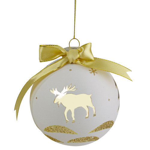 "4"" Gold and White Moose Christmas Ball Ornament - IMAGE 1"