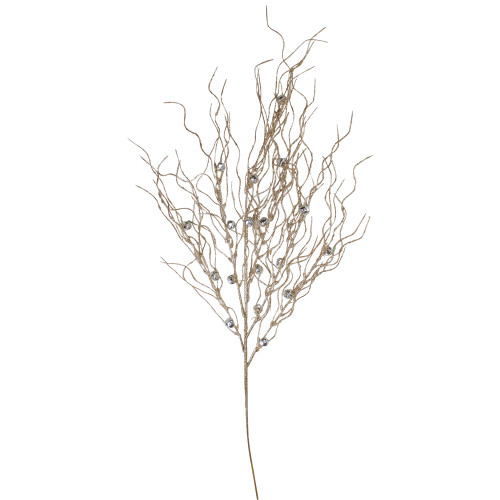 """36"""" Artificial Silver and Gold Glitter Drenched Christmas Twig Spray - IMAGE 1"""