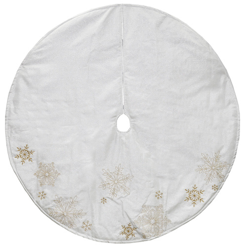 """48"""" White with Gold Embroidered Snowflakes Christmas Tree Skirt - IMAGE 1"""