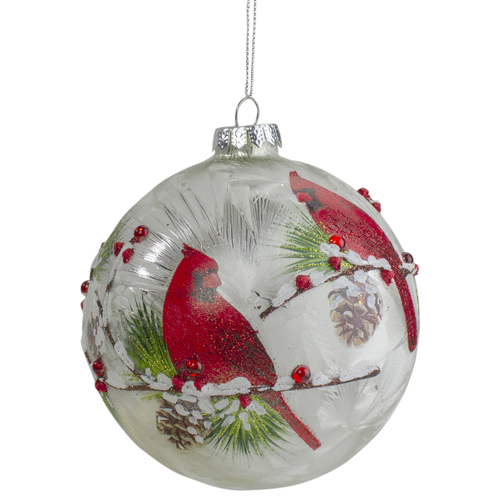 """4.5"""" Red Cardinals and Pine Cones Glass Christmas Ornament - IMAGE 1"""