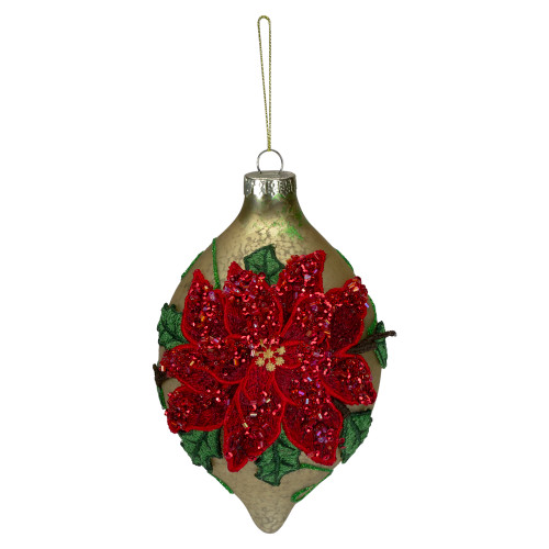 """6.5"""" Red and Gold Poinsettia Finial Christmas Ornament - IMAGE 1"""