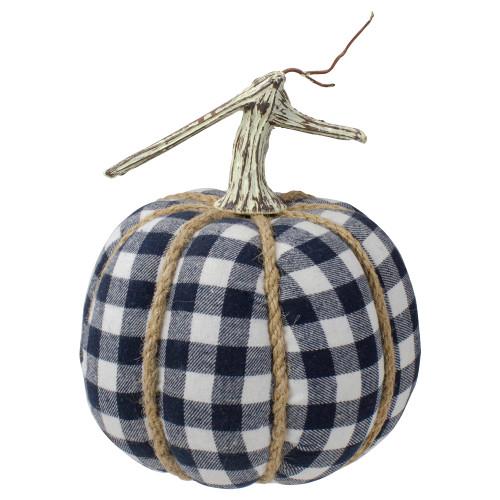 Dark Blue and White Plaid Fall Harvest Tabletop Pumpkin - IMAGE 1