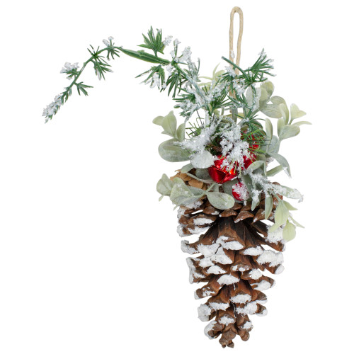 """13"""" Pine Cone with Mixed Foliage, Red Jingle Bells, and Berries Hanging Christmas Ornament - IMAGE 1"""