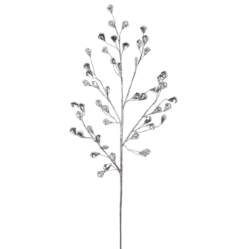 """30"""" Artificial Silver Twig Christmas Spray with Leaves - IMAGE 1"""