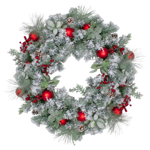 """40"""" Flocked Artificial Mixed Pine and Red Ball Christmas Wreath- Unlit - IMAGE 1"""