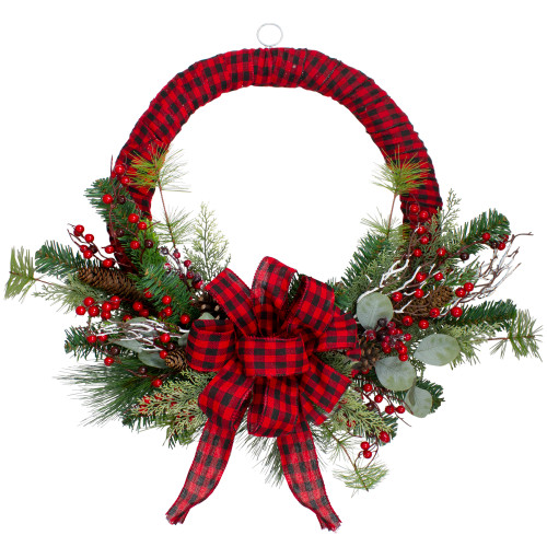 Red and Black Buffalo Plaid and Berry Artificial Christmas Wreath - 24-Inch, Unlit - IMAGE 1