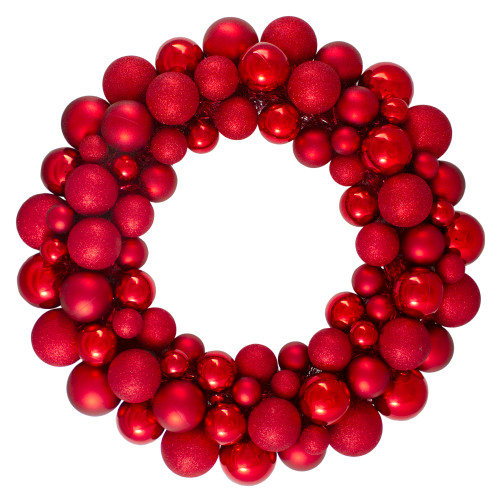 Red Hot 3-Finish Shatterproof Ball Christmas Wreath - 24-Inch, Unlit - IMAGE 1