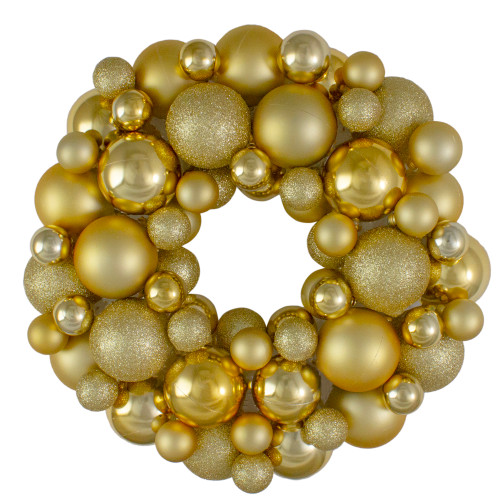 Vegas Gold 3-Finish Shatterproof Ball Christmas Wreath - 13-Inch, Unlit - IMAGE 1