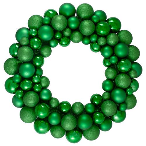 Green 3-Finish Shatterproof Ball Christmas Wreath - 24-Inch, Unlit - IMAGE 1