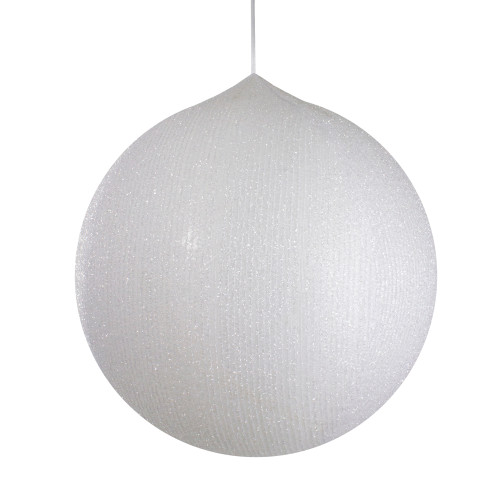 19.5-inch White Tinsel Inflatable Christmas Ball Ornament Outdoor Decor - IMAGE 1