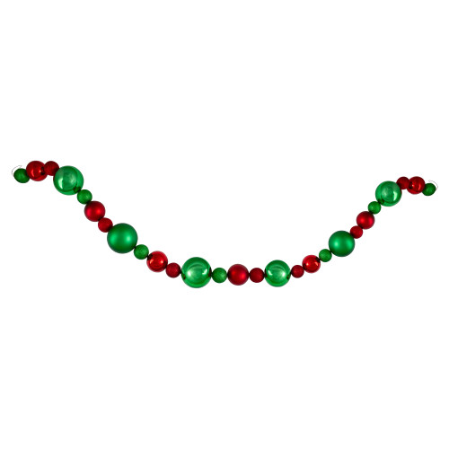 6' Red and Green 3-Finish Shatterproof Ball Christmas Garland - IMAGE 1