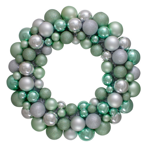 Silver and Seafoam Green 3-Finish Shatterproof Ball Christmas Wreath - 24-Inch, Unlit - IMAGE 1
