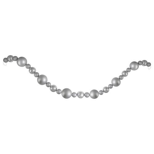 6' Silver Splendor Shatterproof Ball Artificial Christmas Garland - Unlit - IMAGE 1