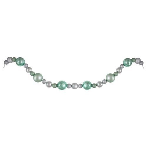 6' Silver and Seafoam Green 3-Finish Shatterproof Ball Christmas Garland - IMAGE 1