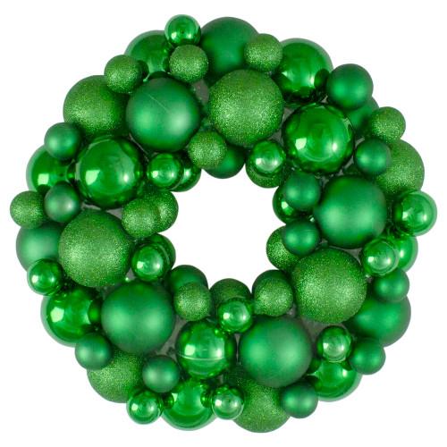 Green 3-Finish Shatterproof Ball Christmas Wreath - 13-Inch, Unlit - IMAGE 1