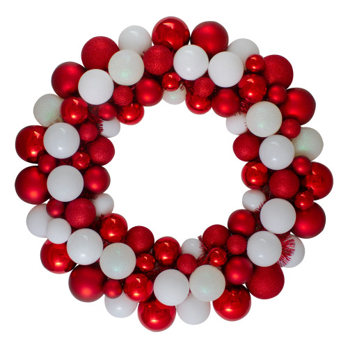 White and Red 3-Finish Shatterproof Ball Christmas Wreath - 24-Inch, Unlit - IMAGE 1