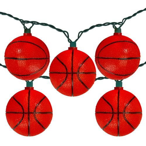 10 Basketball Sport Christmas Novelty Light Set - 11.5 ft Green Wire - IMAGE 1